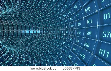 3d Illustration Of Blue Digital Tunnel. Abstract Futuristic 3d Speed Tunnel Warp. Data Tunnel Journe