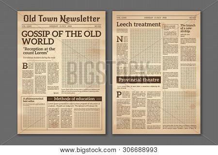 Vintage Newspaper. News Articles Newsprint Magazine Old Design. Brochure Newspaper Pages With Headli