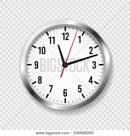 Realistic Office Clock. Modern Wall Round Watches With Time Arrows And Clock Face. 3d Silver Metal C