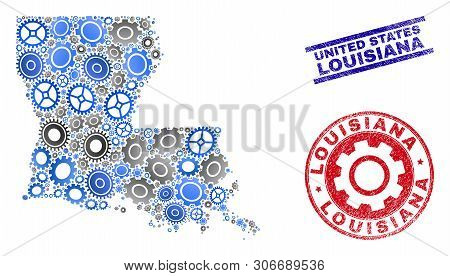 Industrial Vector Louisiana State Map Collage And Stamps. Abstract Louisiana State Map Is Created Fr