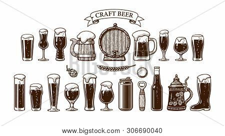 Big Vintage Set Of Beer Objects. Various Types Of Beer Glasses And Mugs, Old Wooden Barrel, Hop, Bot