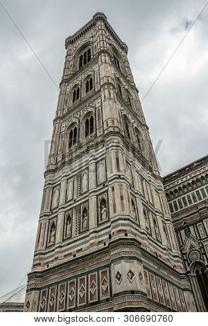Italy. The Belltower Of The Cathedral Of Santa Maria Del Fiore In Florence, The Most Famous Of The A