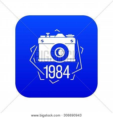 1984 Photo Camera Icon Blue Vector Isolated On White Background