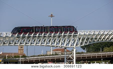 Italy, Venice. Monorail (original Name Of The People Mover) Between Piazzale Roma And The Venice Cru