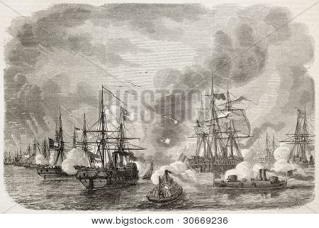 Charleston sea battle old illustration, South Carolina. Created by Lebreton, published on L'Illustration, Journal Universel, Paris, 1863