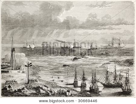 Mexican naval artillery  shooting against French vessel La Lance in Tampico harbour. Tampico old view from lake bank, Mexico. Created by Lebreton, published on L'illustration, Paris, 1863 poster