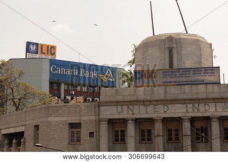 Bangalore, Karnataka India-june 04 2019 : Lic Or Life Insurance Corporation Of India And Canara Bank