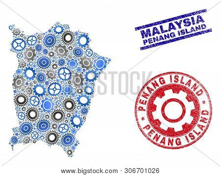 Industrial Vector Penang Island Map Mosaic And Stamps. Abstract Penang Island Map Is Constructed Wit