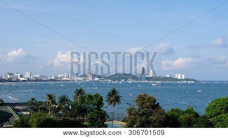 Pattaya Bay Pattaya City In Chonburi Thailand,the Famous Pattaya City Sign On The Hill At Pattaya Ba