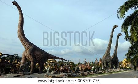Dinosaur Valley In A Tropical Garden Park Of Suan Nongnooch, Pattaya, Thailand.