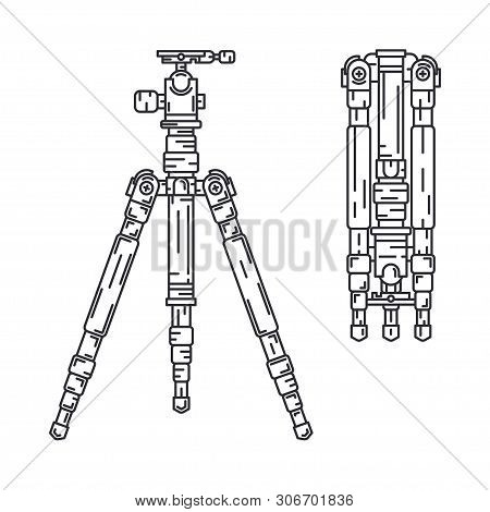 Line Vector Icon Set Digital Photographer Professional Equipment. Photography Art. Photographic Came