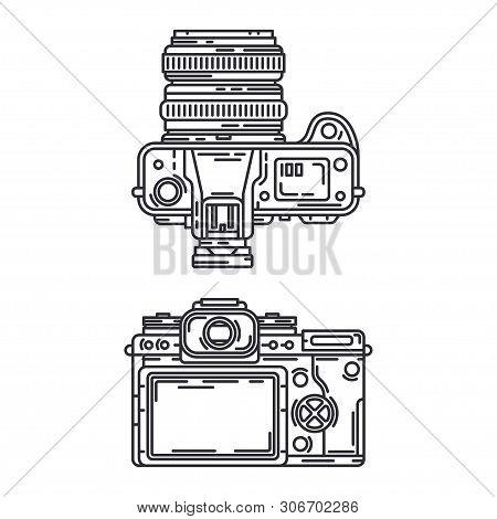 Line Vector Icon Set Digital Slr Professional Camera. Photography Art. Megapixel Photocamera. Cartoo