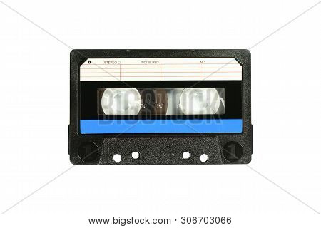 Audio Compact Cassette. Analog Tape Format For Audio Playing And Recording. Audio Cassette With Blue