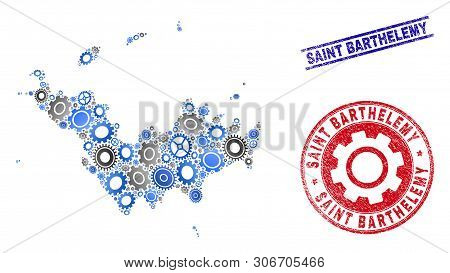 Industrial Vector Saint Barthelemy Map Collage And Stamps. Abstract Saint Barthelemy Map Is Organize
