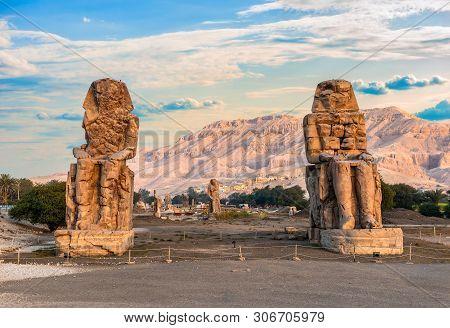 Colossi Of Memnon In Luxor At Sunrise, Front View