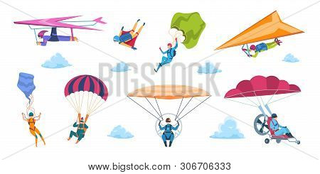 Cartoon Skydivers. Paraglider Skydivers, Flat Falling Characters With Parachutes, Extreme Adrenaline