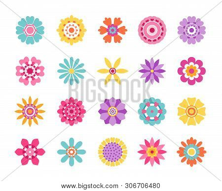 Cartoon Flower Icons. Cute Summer Stickers And Nature Pattern, Retro Daisy Clip Art Set. Vector Mode