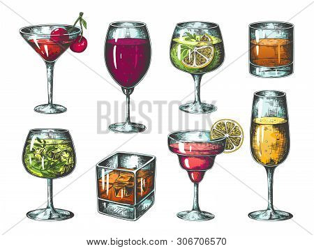 Hand Drawn Cocktails. Colored Glasses With Alcoholic Beverages And Lemonades, Tropical Bar Drinks. V