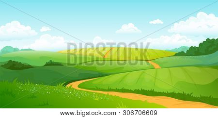 Summer Fields Landscape. Cartoon Countryside Valley With Green Hills Blue Sky And Curly Clouds. Vect