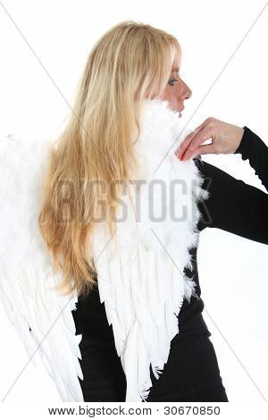 Pretty Blonde With Angel Wings