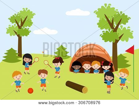 Kids Summer Camp Education Advertising Flyer Template With Illustration Of Children Outdoors Doing A