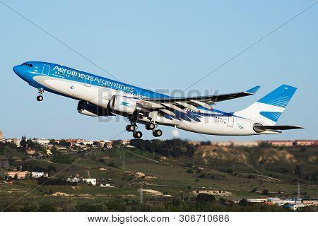 Aerolineas Argentinas Airbus A330-200 Lv-fvh Passenger Plane Departure At Madrid Barajas Airport