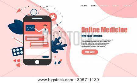 Webpage Template. Online Healthcare And Medical Consultation Concept. Vector Flat Illustration.