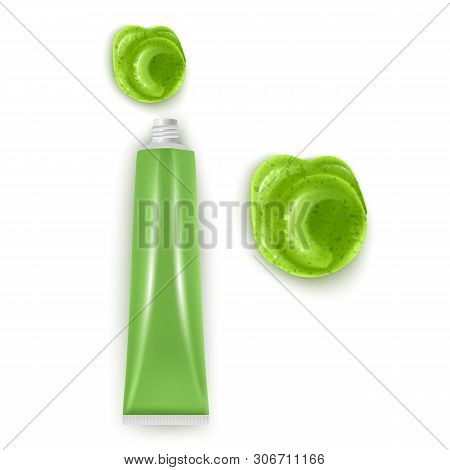 Squeezed Out Sauce On White Background, Wasabi Hot Mustard. Traditional Japanese Green Natural Organ