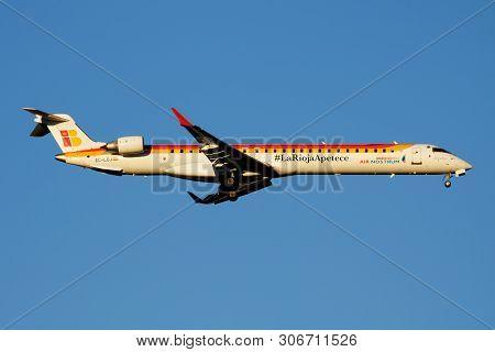 Iberia Regional Air Nostrum Bombardier Crj-1000 Ec-loi Passenger Plane Landing At Madrid Barajas Air