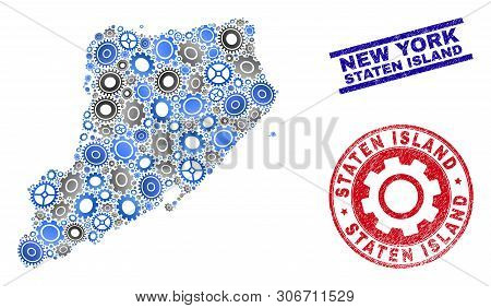 Repair Workshop Vector Staten Island Map Mosaic And Seals. Abstract Staten Island Map Is Composed Wi