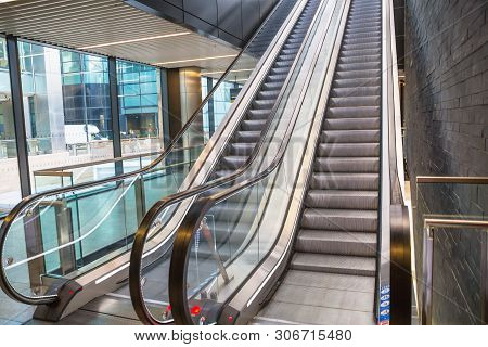 Escalators In An Train Station. Empty Escalator Stairs. Modern Escalator In Public Building, Shoppin