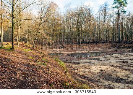 Bottom Of An Almost Dried Up Lake In The Netherlands. After The Prolonged Drought Last Summer, The W