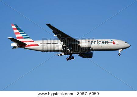 American Airlines Boeing 777-200 N767Aj Passenger Plane Landing At Madrid Barajas Airport