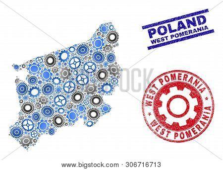 Service Vector West Pomeranian Voivodeship Map Mosaic And Seals. Abstract West Pomeranian Voivodeshi