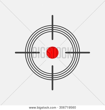Target Target Icon. Vector Symbol Of The Target. Vector Illustration On A Gray Background.