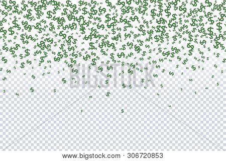 Seamless Pattern Of The Symbols Of Dollar Currency.  Green Vector Background With Signs Of Dollars.