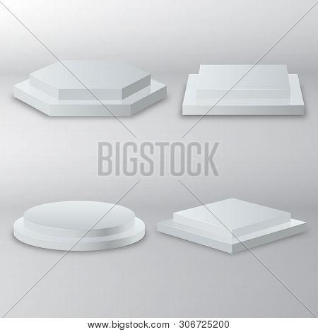 Winner Podium Set. 3d Empty White Podiums Round And Square. Round Podium, Pedestal Or Platform Illum