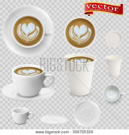 3d Realistic Cappuccino Coffee In White Cups View From The Top And Side. Cappuccino Coffee In White