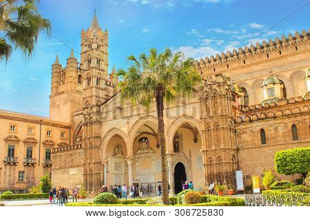 Palermo, Sicily, Italy - Apr 11th 2019: Palermo Cathedral With Tourists In Front. Roman Catholic Chu