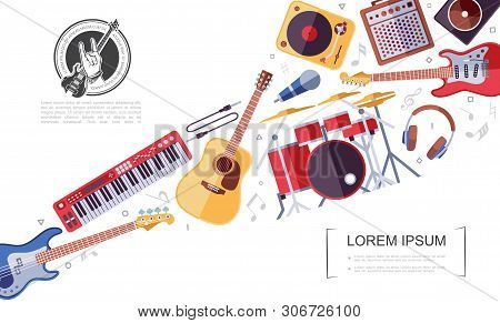 Flat Rock Musical Instruments Colorful Concept With Electric And Acoustic Guitars Drum Kit Synthesiz