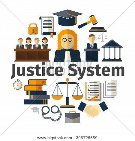 Flat judicial system round concept with judge contract gavel hat lock jury trial lawyer courthouse scales of justice law books handshake handcuffs vector illustration poster