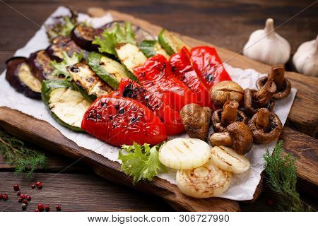 Summer Snack, Grill Bar, Tasty Barbecue Vegetables. Summer Delicious Healthy Food For A Big Company