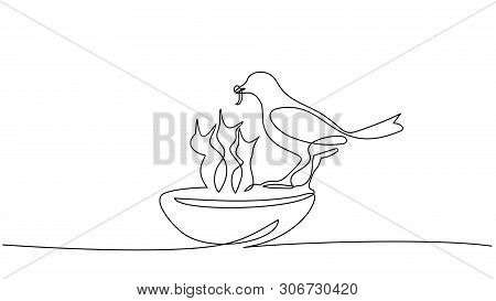 Bird Feeds Chicks Silhouettes One Line Drawing