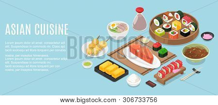 Horizontal Banner Template With Tasty Meals Of Malaysian Cuisine Or Frame Made Of Delicious Spicy As