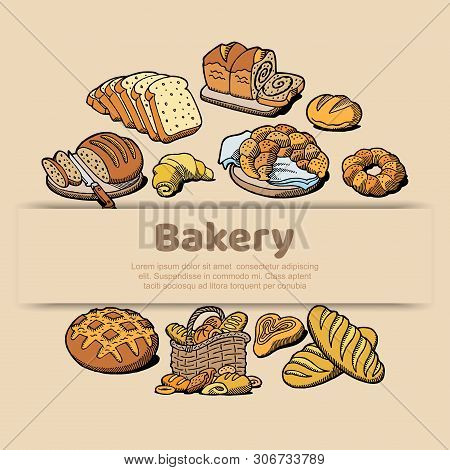 Bakery Or Bread House Sketch Poster Of Baked Bread. Vector Design Template For Baker Shop Of Fresh W