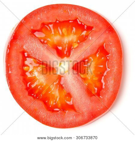 Slice of tomato isolated on white background. Top view, flat lay.