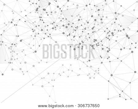 Block Chain Global Network Technology Concept. Network Nodes Greyscale Plexus Background. Interlinke
