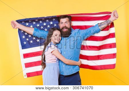 Democracy Guarantees Liberty. Happy Family Supporting Democracy And Peoples Sovereignty. Happy Hipst