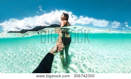 Couple Relaxing Under Water Beautiful Ocean At Koh Lipe Beach Thailand ,summer Vacation