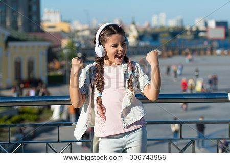I Aint Nothing But A Winner. Happy Small Child Shouting And Making Winner Gesture On Summer Day. Hap
